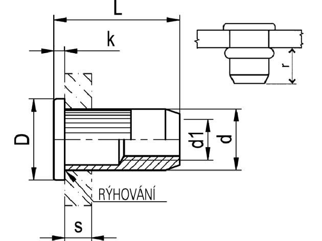 Nytovaci Matice M 8 St 0 5 3 5 Otevrena Ryhovana S Plochou Hlavou