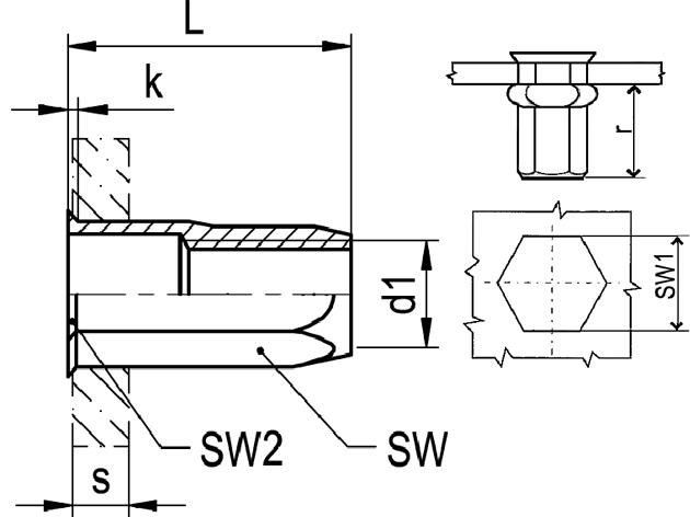 Nytovaci Matice M 8 St 4 0 6 0 Sestihranna Otevrena S Malou Hlavou