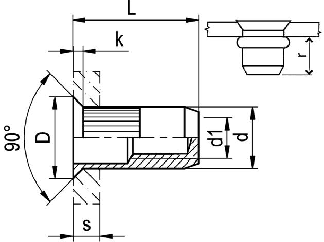 Nytovaci Matice M 8 St 1 6 5 0 Uzavrena Ryhovana Se Zapustnou Hlavou