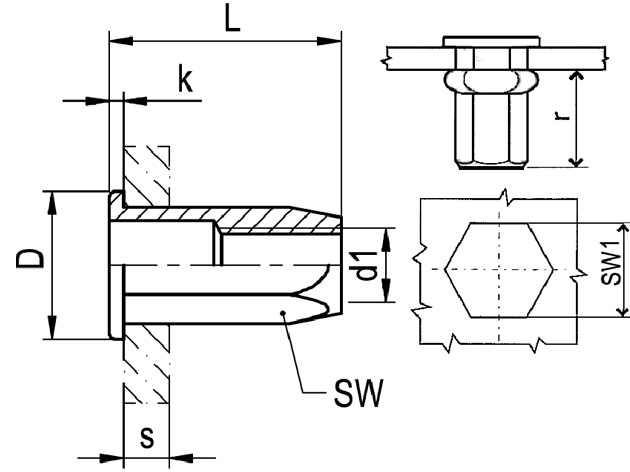 Nytovaci Matice M 8 St 0 5 3 0 Sestihranna Otevrena S Plochou Hlavou